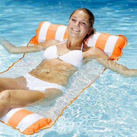 Hamac flottant, hamac de piscine gonflable, chaise longue flottante, hamac flottant pliable multifonctionnel pour plage flottante adulte (orange)132*129cm