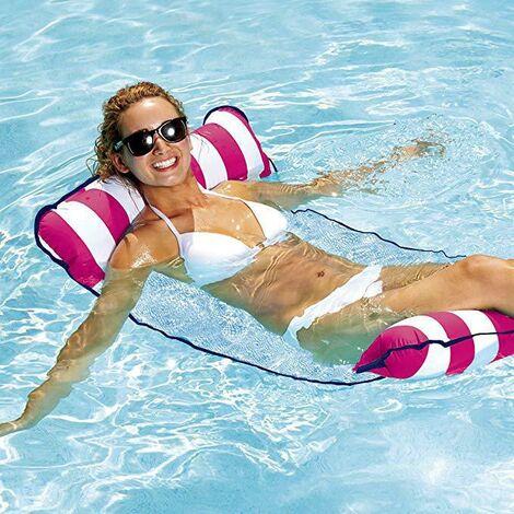 Hamac flottant, hamac de piscine gonflable, chaise longue flottante, hamac flottant pliable multifonctionnel pour plage flottante adulte (rose)