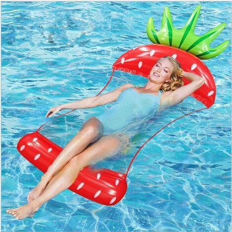 Hamac gonflable flottant en forme de fruit - Chaise longue inclinable - Pliable - Double usage - Piscine - Lit flottant - Chaise - Canapé - Tapis de plage - Tapis de bain,rouge