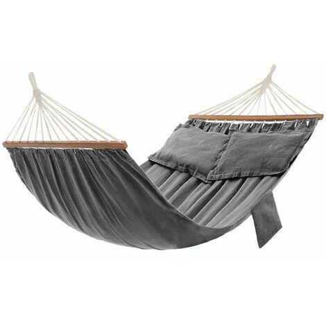 Hamac, Hamac d'extérieur de camping, Lit suspendu, 2 barres en bois, avec 2 oreillers, capacité de charge 300 kg, 210 x 150 cm, Gris GDC022G01 - Gris