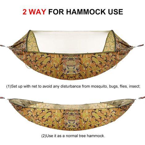 Hamac Lit avec Moustiquaire 200kg pour deux personnes Extérieur Voyage Camping 290x140cm -Camouflage