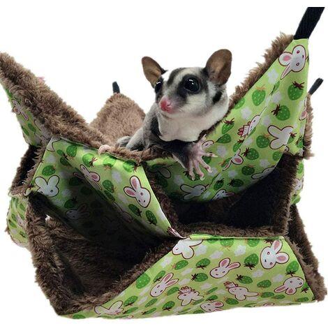 Hamac pour petit animal de compagnie, hamac à sucre triple lit hamac pour rat, cochon d'Inde, accessoires de literie confortable furet tunnel pour petits animaux