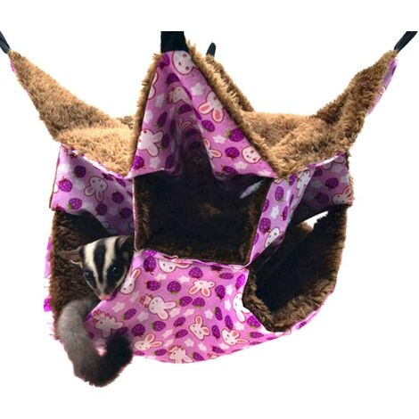 Hamac pour petit animal domestique - Triple lit pour rat, cochon d'Inde - Accessoires de literie confortable - Tunnel pour furet - Pour chinchilla, perroquet, hamster