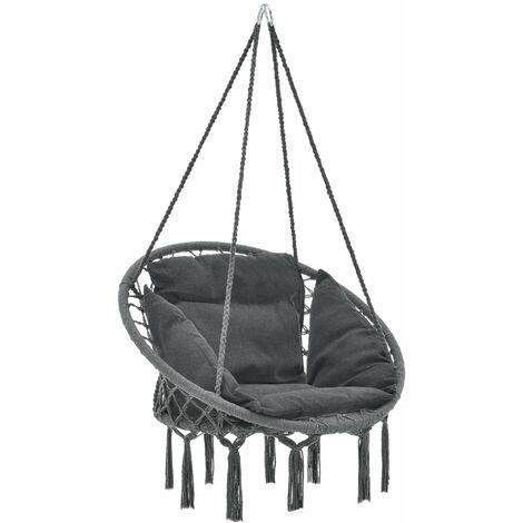 Hamac siège rond avec coussin chaise diamètre d'assise 60 cm gris foncé - Gris