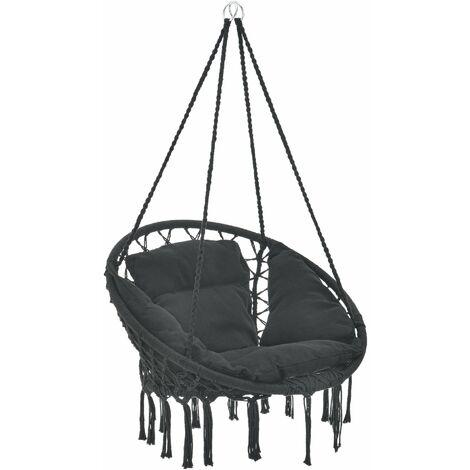 Hamac siège rond avec coussin chaise suspendue diamètre d'assise 60 cm noir - Noir