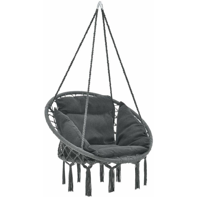 Helloshop26 - Hamac siège rond avec coussin chaise diamètre d'assise 60 cm gris foncé - Gris