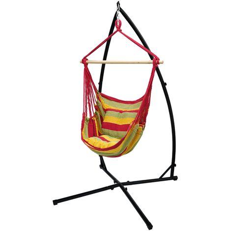 Hamac suspendu siège balançoire coton support rouge/jaune/orange 120cm extérieur