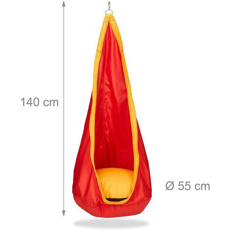 Hamac suspendu siège enfant fauteuil 70 kg extérieur intérieur balançoire rouge - Rouge