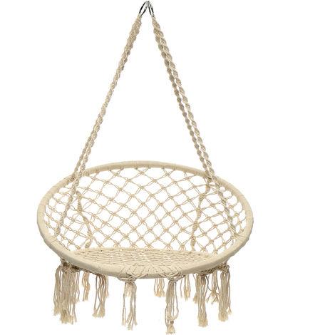 Hamaca colgante Silla de columpio de cuerda Silla de macramé Asiento de hamaca Jardín interior al aire libre