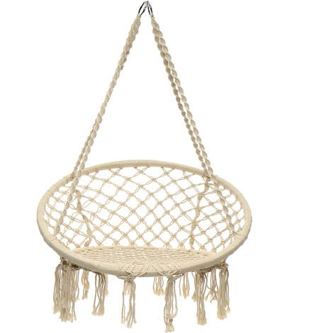 Hamaca colgante Silla de columpio de cuerda Silla de macramé Asiento de hamaca Jardín interior al aire libre Sasicare