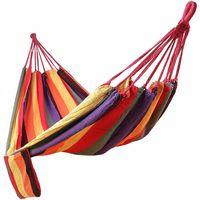Hamaca Colgante Tejido Polialgodón Relajar en Jardín Camping 210 x 150cm Carga de 300kg Colorido GDC210