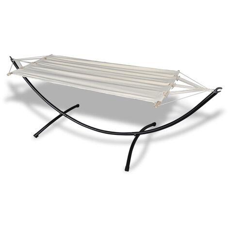 Hamaca con soporte de acero y tela de algodón color crema