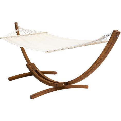 Hamaca con soporte de madera en forma de arco - Tela color crema