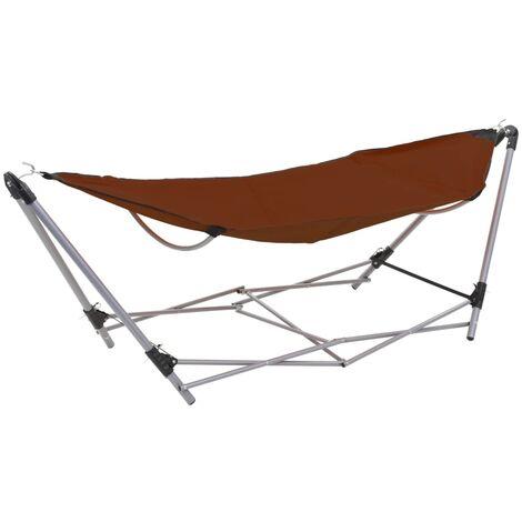Hamaca con soporte plegable marrón