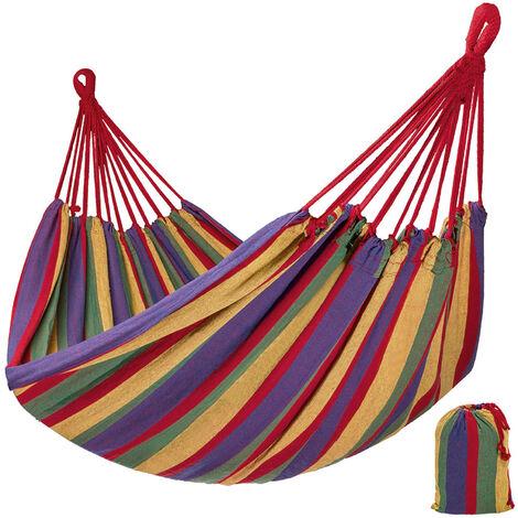 Hamaca relax con bolsa para guardar - sillón colgante para jardín, hamaca multicolor de algodón y poliéster, hamaca de camping con bolsa de transporte - Varios colores