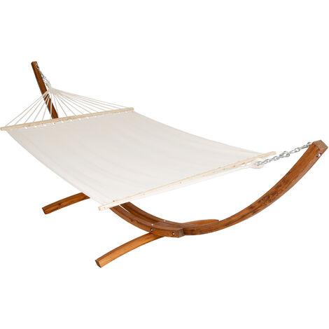 Hamaca XXL con marco de madera para 2 personas - tumbona colgante para jardín, hamaca de algodón y poliéster con estructura de madera, hamaca grande para dos personas - blanco
