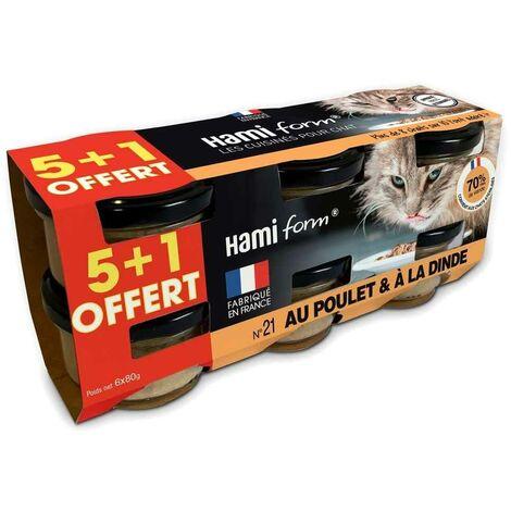 Hamiform - Pack de 6 Pots de Paté au Poulet et à la Dinde pour Chat - 6x80g