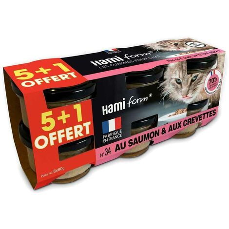 Hamiform - Pack de 6 Pots de Paté au Saumon et aux Crevettes pour Chat - 6x80g
