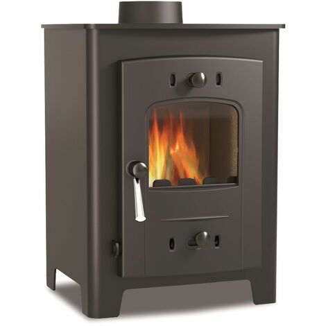 Hamlet 5kW Multi Fuel Stove Freestanding Black Large Window Cast Iron Black