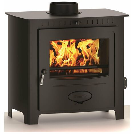 Hamlet Freestanding 11kW Multi Fuel Stove Burning Large Glass Window Cast Iron
