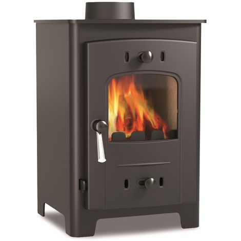 Hamlet Freestanding 4kW Multi Fuel Stove Burning Large Glass Window Cast Iron