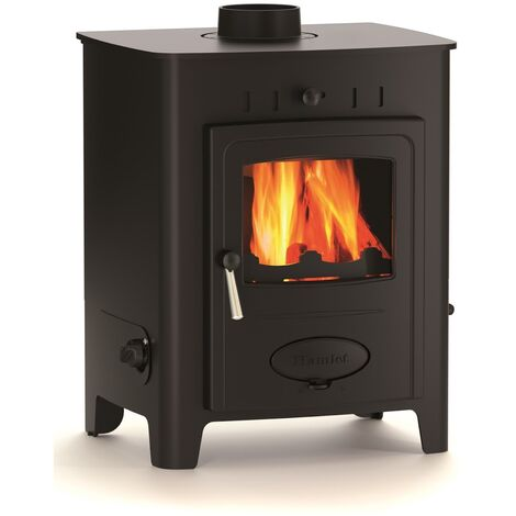 Hamlet Freestanding 9kW Multifuel Stove Burning Large Glass Window Cast Iron