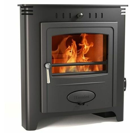 Hamlet Inset Black 5kW Multifuel Stove Burning Large Glass Window Cast Iron Fuel