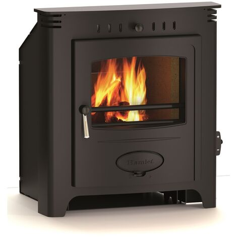 Hamlet Inset Black 7kW Multifuel Stove Burning Large Glass Window Cast Iron Fuel