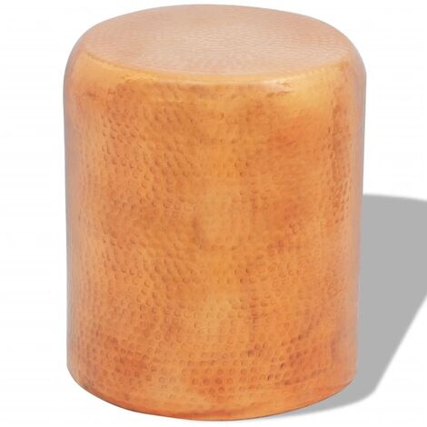 Hammered Aluminium Stool/Side Table Brass/Copper Colour - Gold