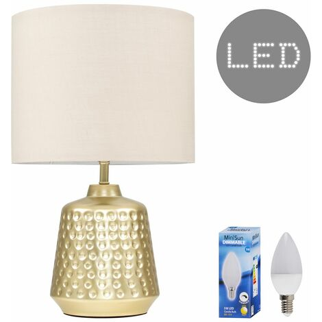 Hammered Touch Dimmer Table Lamp + Warm White LED Dimmable Candle Bulb