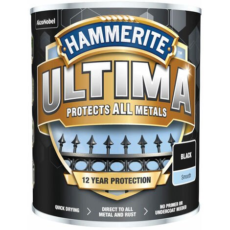 Hammerite 5362526 Ultima Metal Paint Smooth Black 750ml