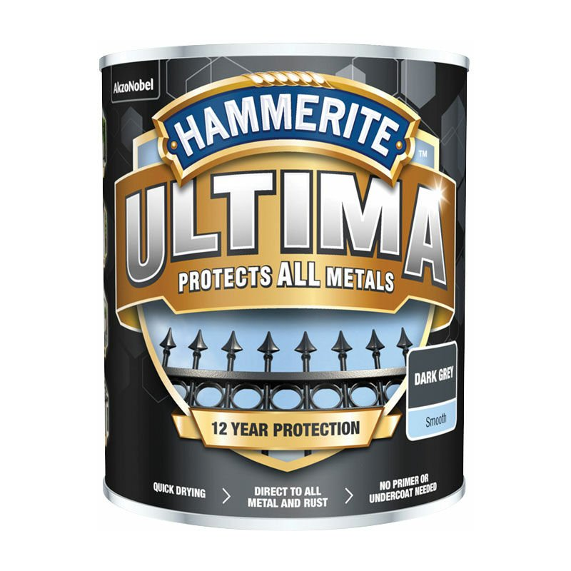 Image of 5362527 Ultima Metal Paint Smooth Dark Grey 750ml - Hammerite