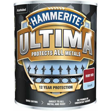 Hammerite 5362529 Ultima Metal Paint Smooth Ruby Red 750ml