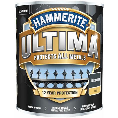 Hammerite 5362534 Ultima Metal Paint Matt Dark Grey 750ml