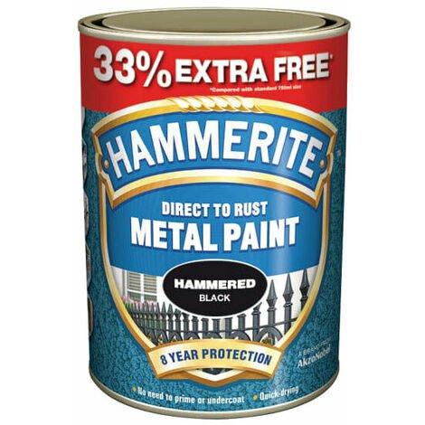Hammerite HMMHFB750AV Hammered Finish Metal Paint Black 750ml + 33%