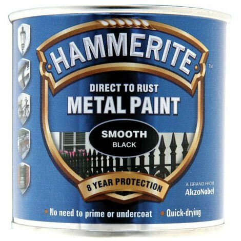 Hammerite HMMSFBL250 Smooth Finish Metal Paint Black 250ml