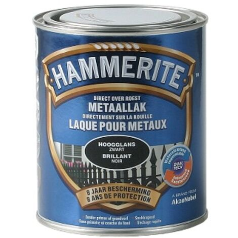 Hammerite laca de metal Negro Brillante - 750ml - Noir