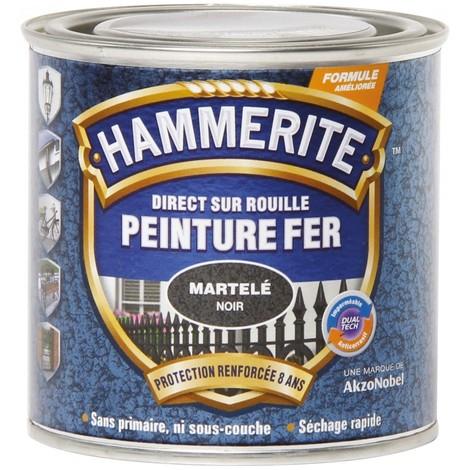 """main image of """"Peinture fer Direct sur Rouille - 250ml - martelé (différentes teintes) HAMMERITE - Teinte: Noir"""""""