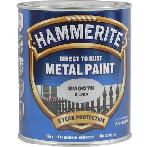 Hammerite Metal Paint Smooth Silver 750ml