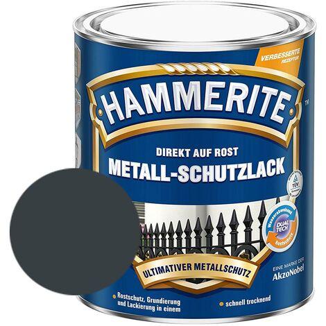 Hammerite Metall-Schutzlack glänzend Grundierung Rostschutz anthrazitgrau 750ml