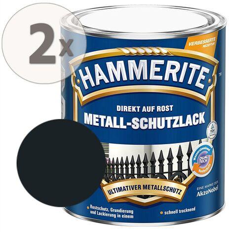Hammerite Metall-Schutzlack glänzend schwarz Sparpaket 2 x 750ml