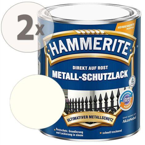 Hammerite Metall-Schutzlack glänzend weiß Sparpaket 2 x 750ml
