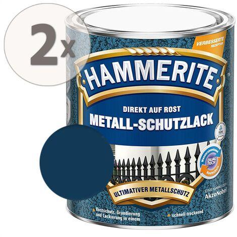 Hammerite Metall Schutzlack Hammerschlag-Effekt dunkelblau Sparpaket 2 x 750ml