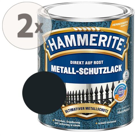 Hammerite Metall Schutzlack Hammerschlag-Effekt schwarz Sparpaket 2 x 750ml