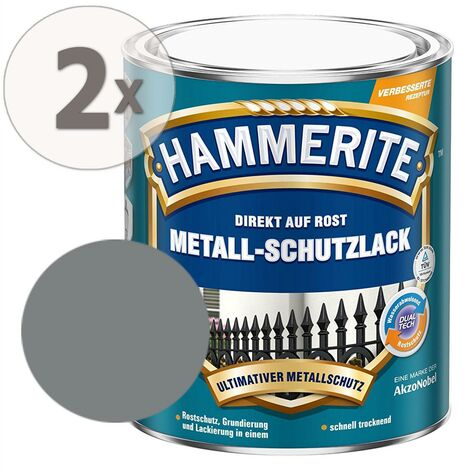 Hammerite Metall-Schutzlack matt Rostschutz hellgrau 2 x 750 ml