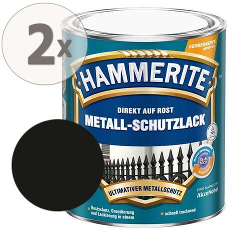 Hammerite Metall-Schutzlack matt Rostschutz schwarz 2 x 750 ml
