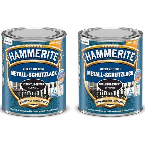 Hammerite Metall-Schutzlack Struktur-Effekt schwarz, 2 x 750 ml