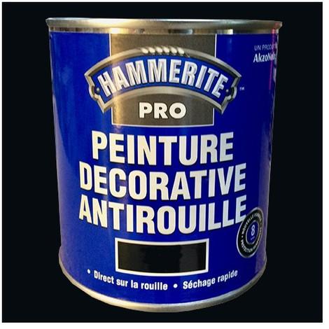 HAMMERITE Peinture Décorative Antirouille Noir Satin - 0,5 L