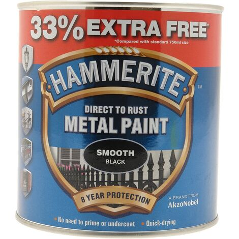 """main image of """"HAMMERITE Direct To Rust Metal Paint - Smooth Black - 750ml +33% EF - 5158235"""""""