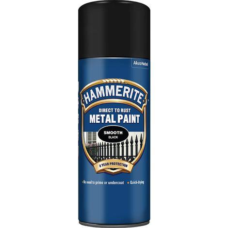 Hammerite Smooth Direct to Rust 400ml Black Aerosol